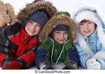 kinderen, in, winter kleden