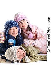 kinderen, in, winter kleren