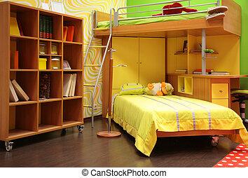 kinderen, kamer, met, tweepersoonsbed