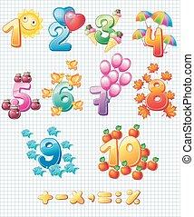 kinderen, kleurrijke, getallen