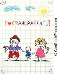 kinderen, kleurrijke, hand, getrokken, vector, begroetende kaart, met, opa, oma, en, kleinzoon, samen.