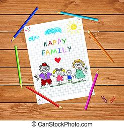 kinderen, kleurrijke, hand, getrokken, vector, illustratie, van, man, vrouw en kinderen, holdingshanden, samen