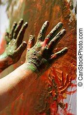 kinderen, kunstenaar, handen, schilderij, kleurrijke