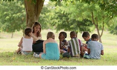 kinderen, leraar, en, opleiding
