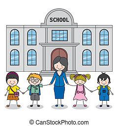 kinderen, leraar