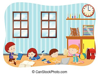 kinderen, leren, in, een, klaslokaal