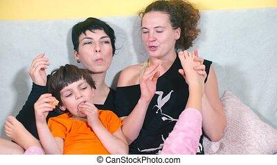 kinderen, lesbische , gezin, home.