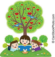 kinderen, lezende , boekjes