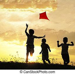 kinderen lopende, met, vlieger