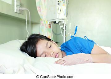 kinderen, meisje, in, ziekenhuis