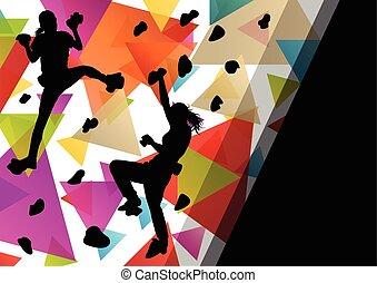 kinderen, meisje, silhouettes, op, het beklimmen van muur,...