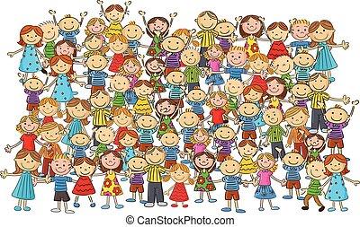 kinderen, menigte, spotprent