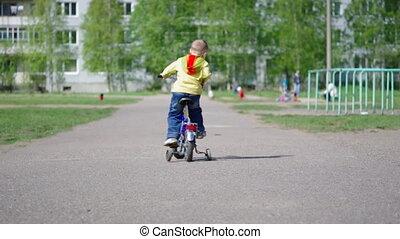 kinderen, met, bicycles
