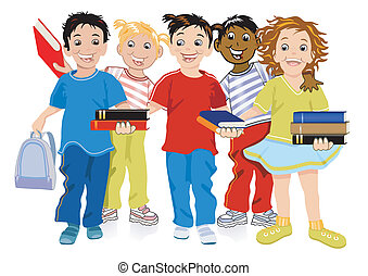 kinderen, met, boekjes