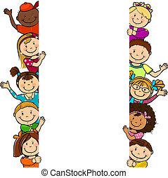 kinderen, met, lang, wit blad