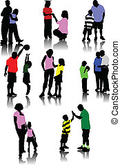 kinderen, met, ouders, silhouettes