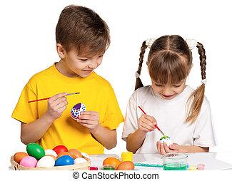 kinderen, met, paaseitjes