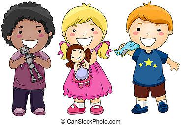 kinderen, met, speelgoed