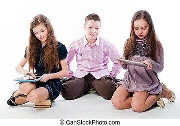 kinderen, met, tablet, computers