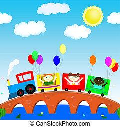 kinderen, op, de, trein