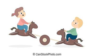 kinderen, op, playground.
