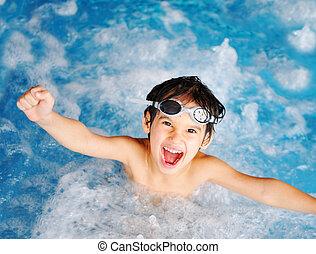 kinderen, op, pool, geluk, en, vreugde