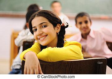 kinderen, op, school, klaslokaal