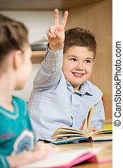 kinderen, op, school