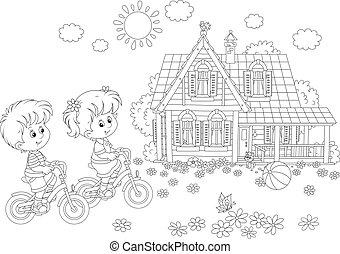 kinderen, paardrijden, bicycles