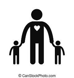 kinderen, pictogram, silhouette, twee, man