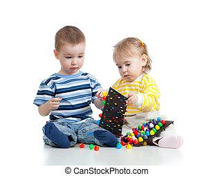 kinderen, samen, spelend