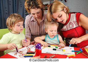 kinderen, schilderij, met, zijn, moeders, 2