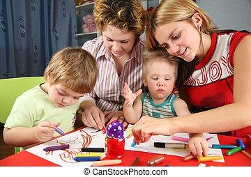 kinderen, schilderij, met, zijn, moeders