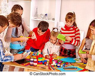 kinderen, schilderij, op, kunst, school.