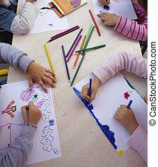 kinderen, schilderij, tekening, school, opleiding