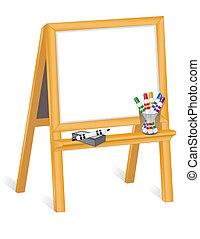 kinderen, schildersezel, whiteboard