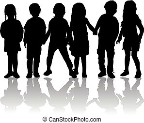 kinderen, silhouette