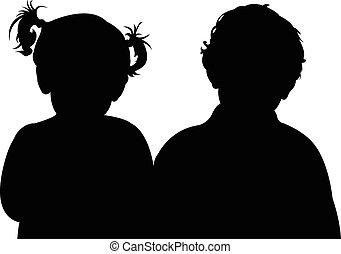 kinderen, silhouette, twee, samen