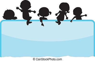 kinderen, silhouettes, achtergrond
