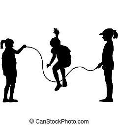 kinderen, silhouettes, het springen touw