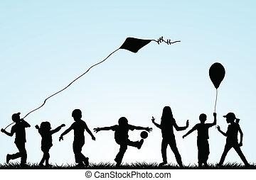 kinderen, silhouettes, spelend, in het park