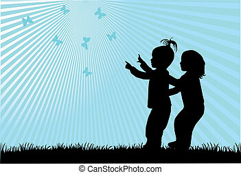 kinderen, silhouettes