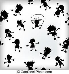 kinderen, silhouettes