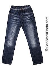 kinderen, -, slijtage, jeans