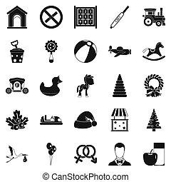 kinderen, speelbal, iconen, set, eenvoudig, stijl
