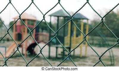 kinderen, speelplaats, agains, omheining