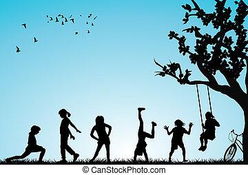kinderen spelende, in, een, park