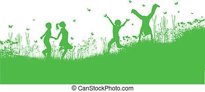 kinderen spelende, in, gras, en, bloemen