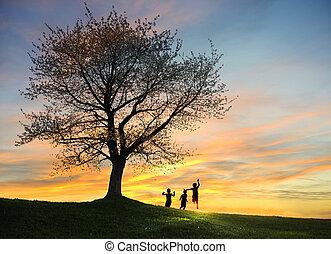 kinderen spelende, in, ondergaande zon , silhouettes,...
