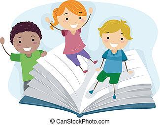 kinderen spelende, met, een, boek